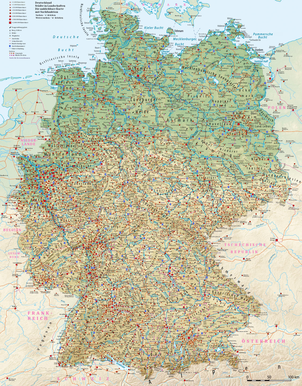 Deutschland Stadte In Landschaften Die Anklickbare Karte Mit